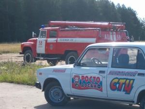 Фигурное вождение пожарногоаавтомобиля..